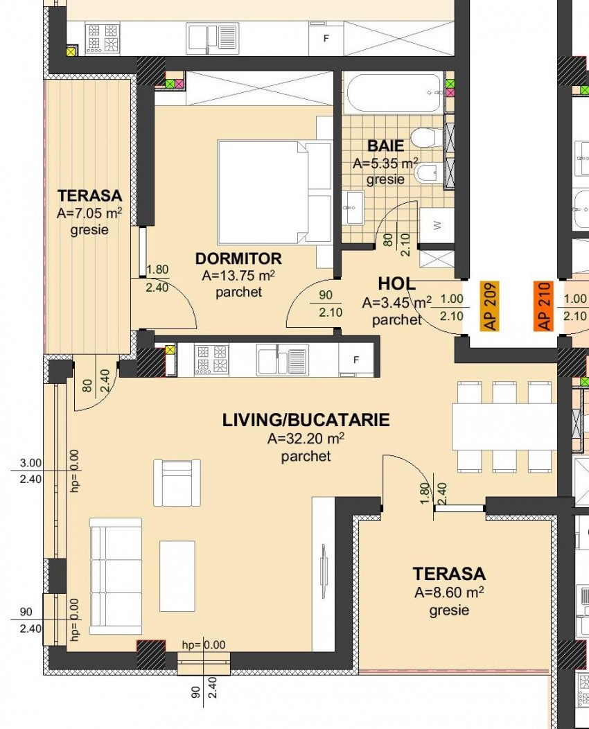 Apartament 2 camere - 84.80 mp